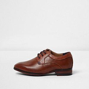 Chaussures Richelieu pointues marron fauve pour mini garçon