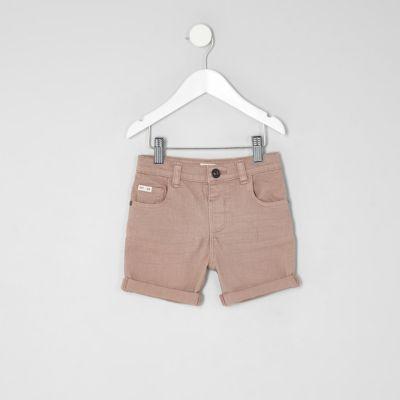 Mini Dylan roze slim-fit denim short voor jongens