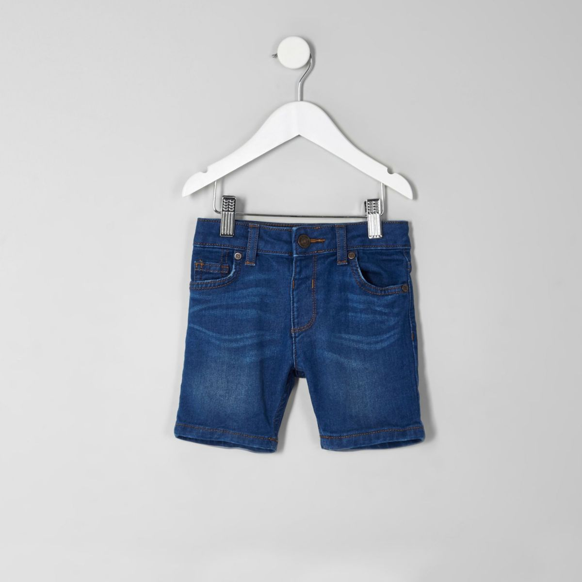 Mini boys blue Dylan slim fit denim shorts