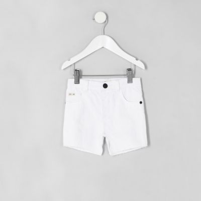 Mini Witte ripped slim-fit denim short voor jongens