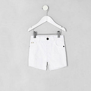 Mini - Witte ripped slim-fit denim short voor jongens
