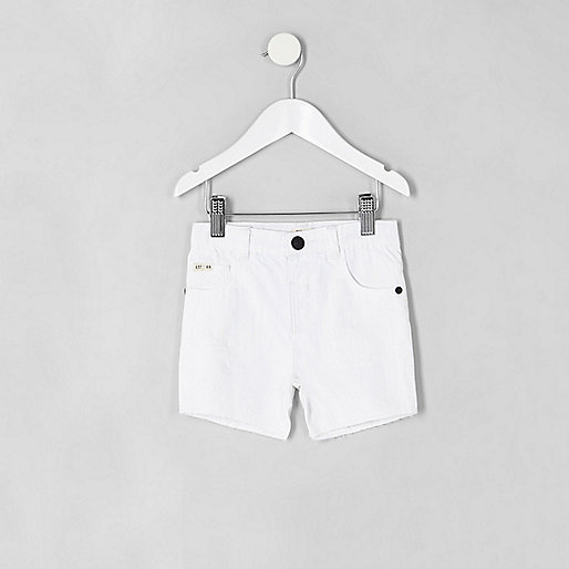 Mini boys white ripped slim fit denim shorts