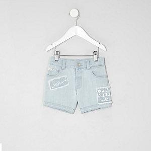 Mini boys light blue Dylan print denim shorts