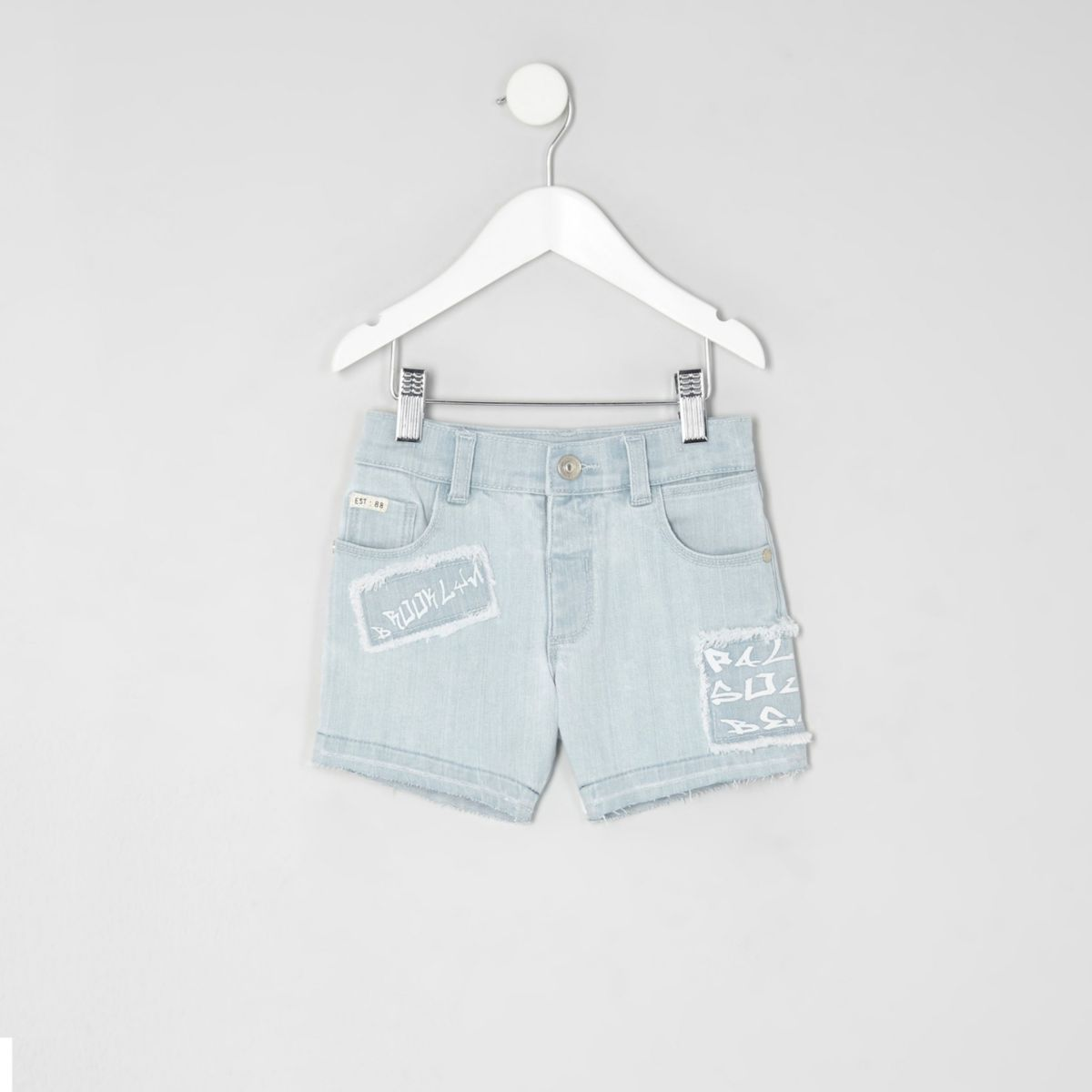 Mini boys light blue Dylan print denim shorts