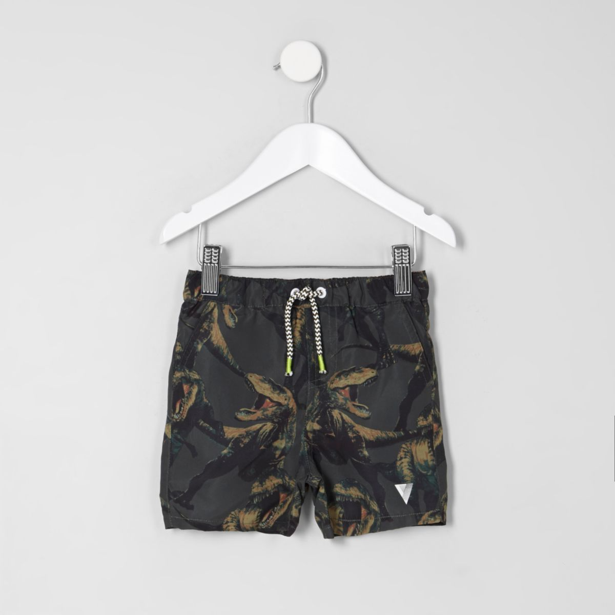 Mini boys khaki green dino print swim shorts