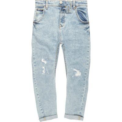 Tony Lichtblauwe ripped ruimvallende jeans voor jongens