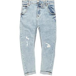 Tony - Lichtblauwe ripped ruimvallende jeans voor jongens