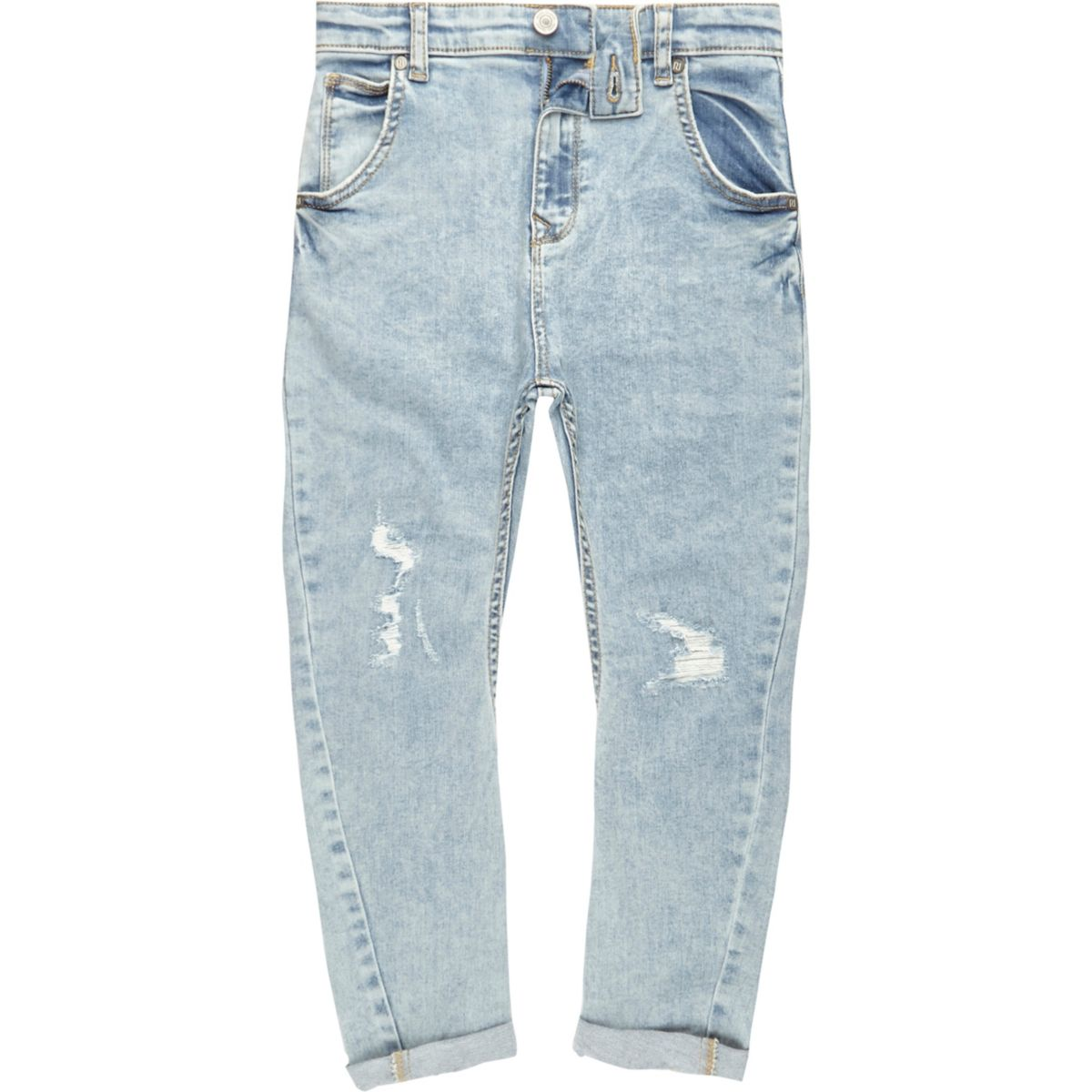 Boys light blue ripped Tony slouch jeans