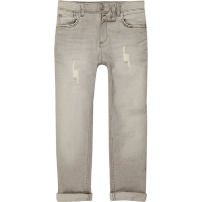 Dylan Grijze slim-fit distressed jeans voor jongens