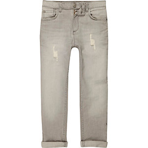 Boys grey Dylan slim fit distressed jeans