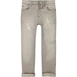 Dylan - Grijze slim-fit distressed jeans voor jongens