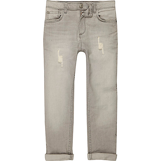 Boys grey Dylan slim fit distressed jeans