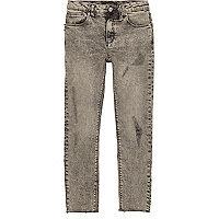 Boys grey ripped Sid skinny jeans