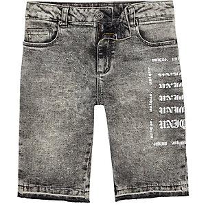 Boys grey Dylan acid wash skinny denim shorts