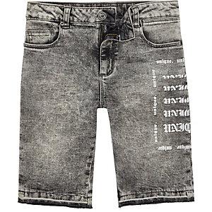 Dylan –Short en jean skinny gris délavé à l'acide pour garçon