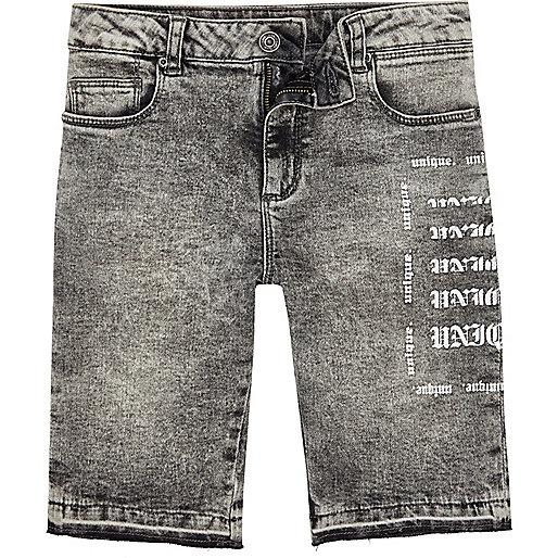 Boys grey Dylan acid wash skinny denim shorts