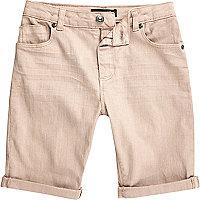 Boys pink Dylan slim fit denim shorts