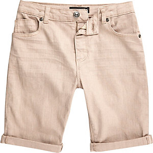 Boys pink Dylan slim fit denim shorts