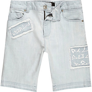 Boys light blue Dylan skinny denim shorts