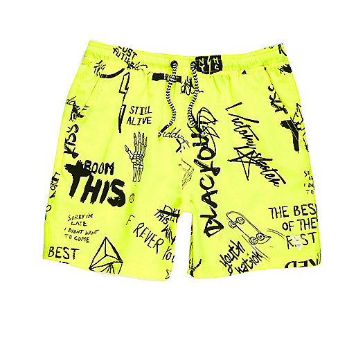 Boys yellow graffiti print swim trunks