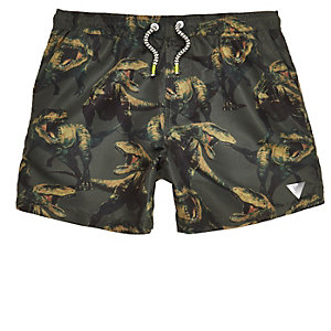 Boys khaki green dinosaur print swim trunks