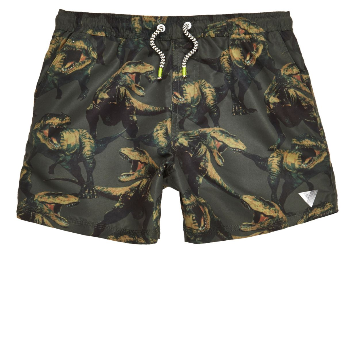 Boys khaki green dinosaur print swim shorts