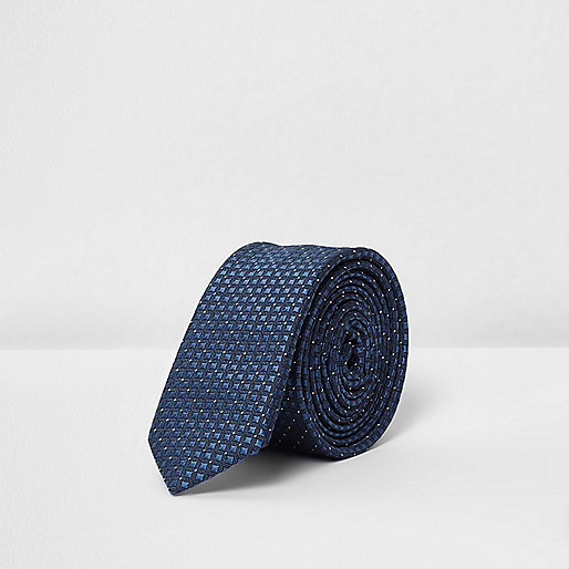 Boys blue textured tie