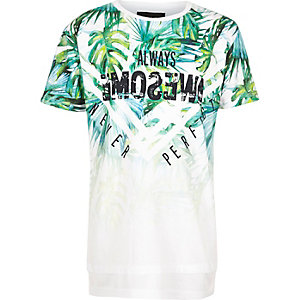 Boys white fade leaf print layered T-shirt