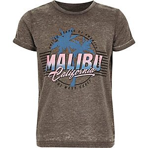 Boys grey burnout 'Malibu' print T-shirt