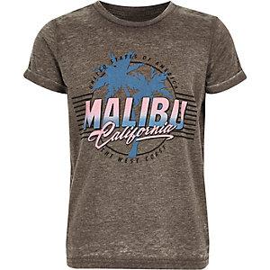 T-shirt imprimé Malibu gris effet usé pour garçon
