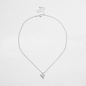 Boys silver tone shark tooth pendant necklace