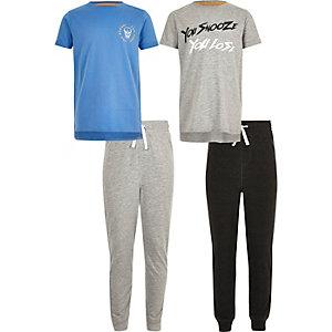 Multipack blauwe pyjamaset met print voor jongens