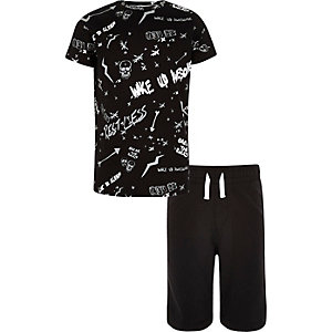 Boys black 'Wake Up Awesome' print pyjama set