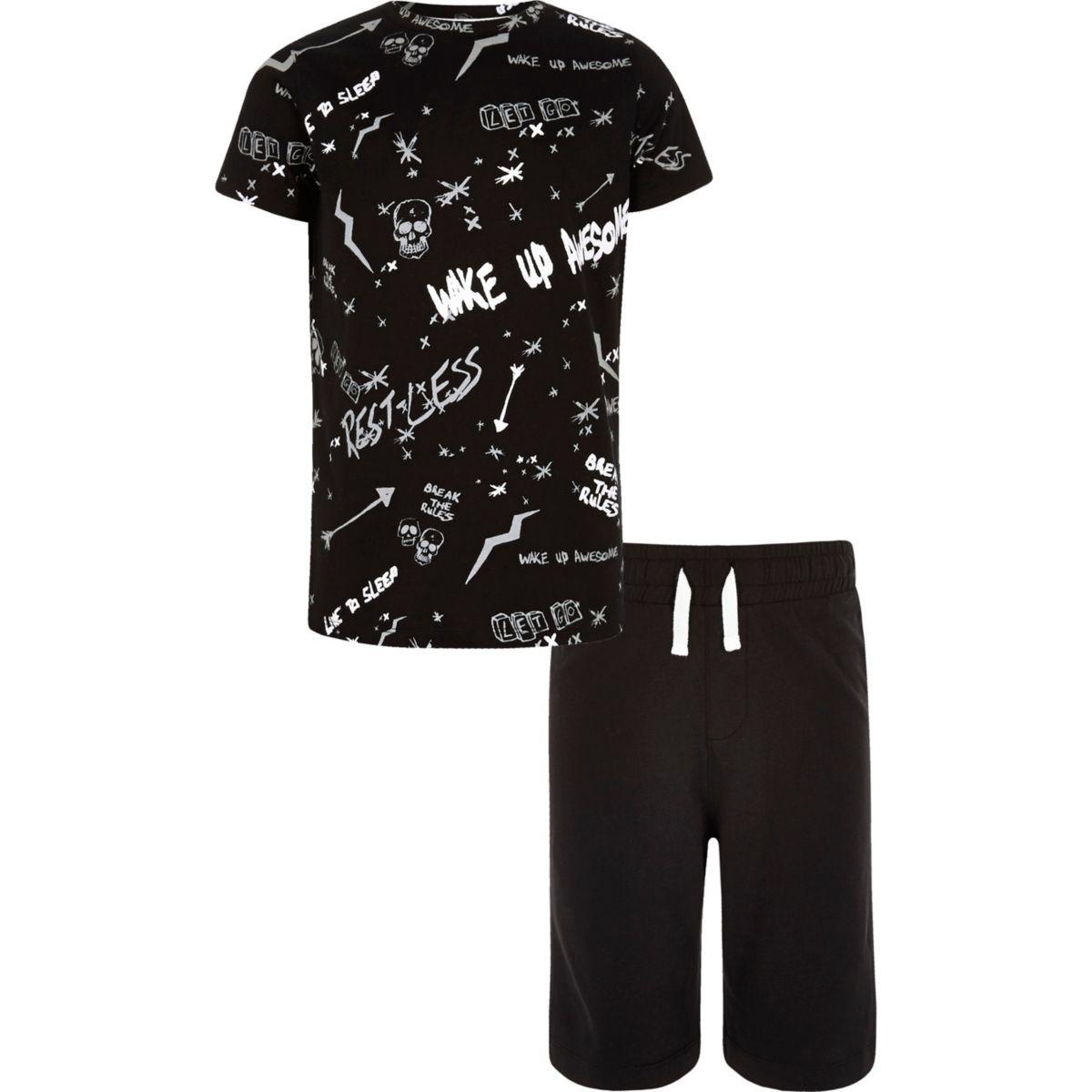 Boys black 'Wake Up Awesome' print pajama set