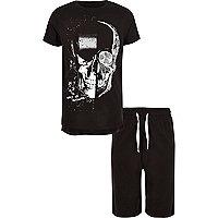 Pyjama imprimé tête de mort noir pour garçon