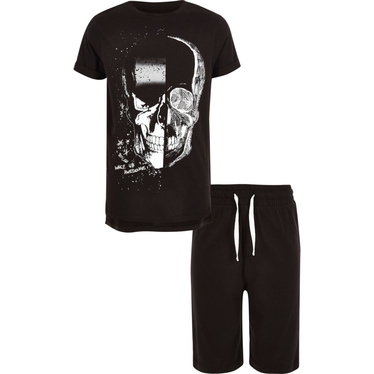 Boys black skull print pajama set