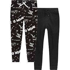 Zwarte pyjamabroek met 'Break the rules'-print voor jongens