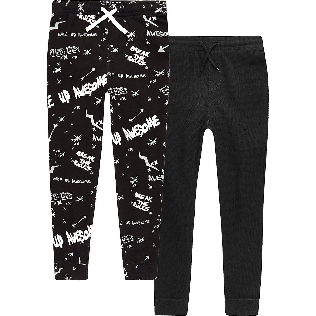 Boys black 'Break The Rules' pyjama bottoms