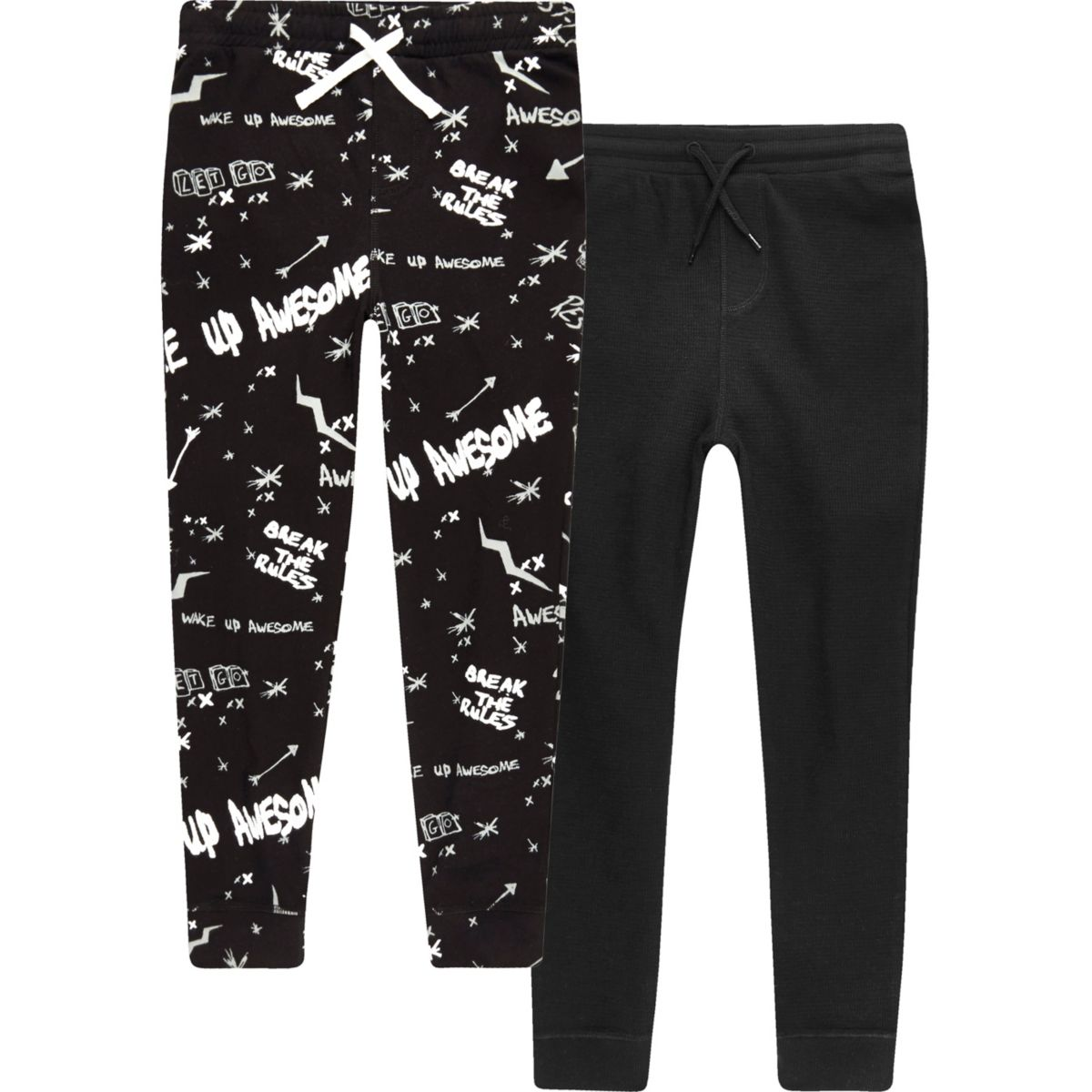 Boys black 'Break The Rules' pajama bottoms