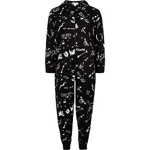 Boys black 'break the rules' onesie