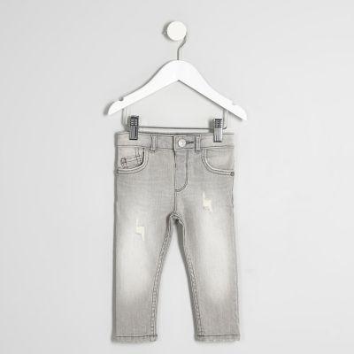 Mini Sid Grijs vervaagde skinny-fit jeans voor jongens