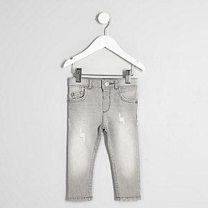 Mini - Sid - Grijs vervaagde skinny-fit jeans voor jongens