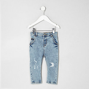Hellblaue Skinny Jeans im Used-Look