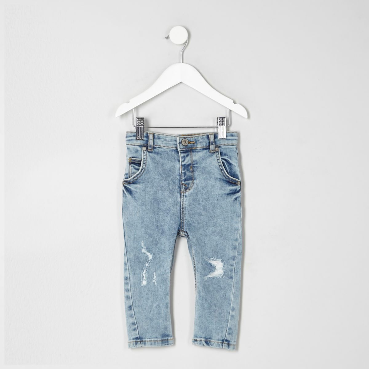 Mini boys light blue distressed skinny jeans