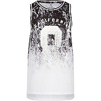 Boys black fade 'California' print vest