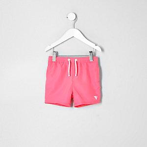 Mini - Koraalrode zwemshort met print voor jongens