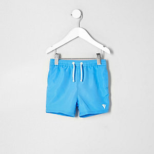 Mini boys blue print swim trunks