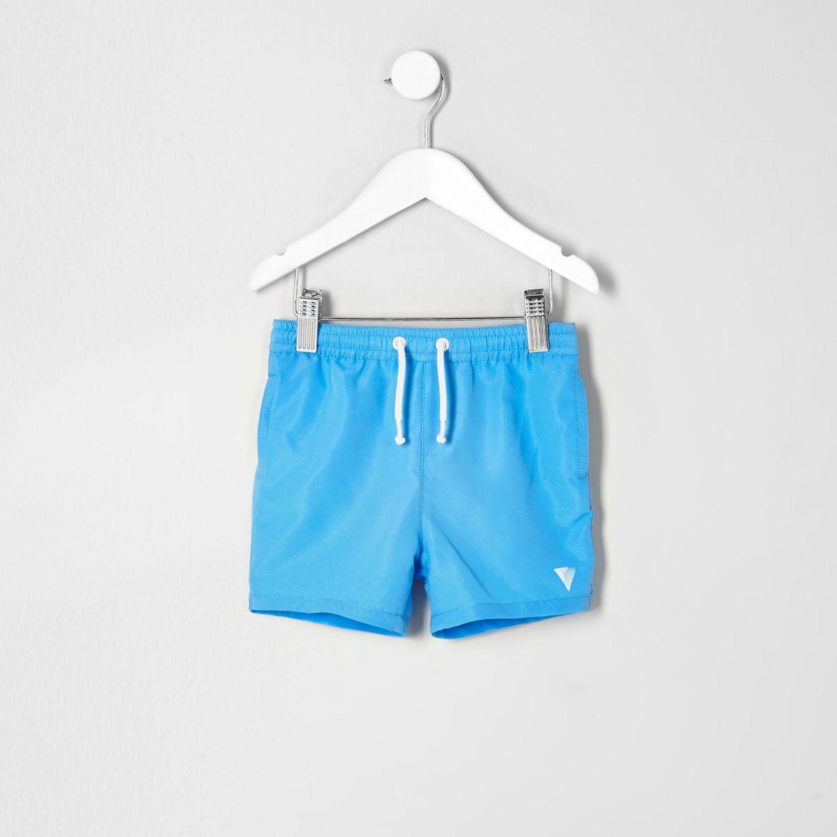 Mini boys blue print swim trunks