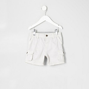 Mini boys grey cargo shorts