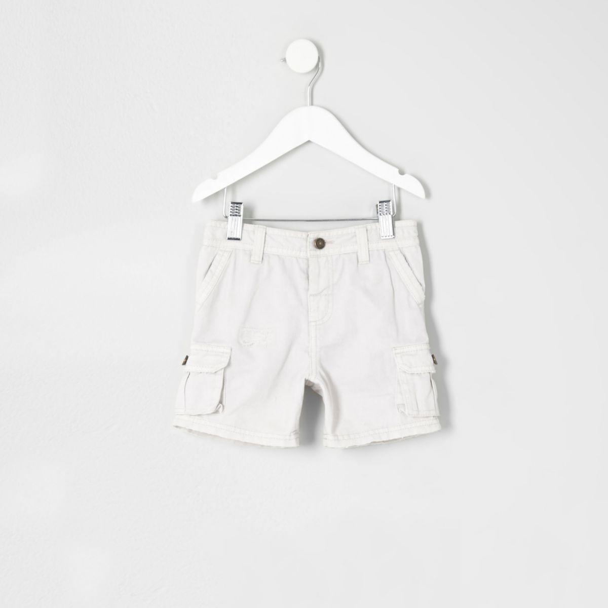 Mini boys grey cargo shorts
